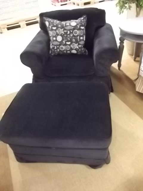 Navy blue chenille chair ottoman slipcover combo custom for Navy blue chair and ottoman