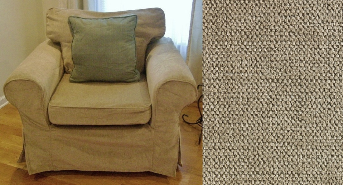 Delightful Beige Chenille Chair Slipcover , 3 Pieces, Custom Made